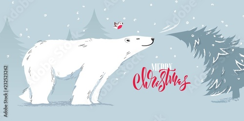 Fototapety, obrazy: Happy new year and merry christmas funny cartoon vector illustration with bear and pine tree.