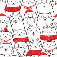 Cute Cat Seamless Pattern For Christmas.cartoon Hand Drawn