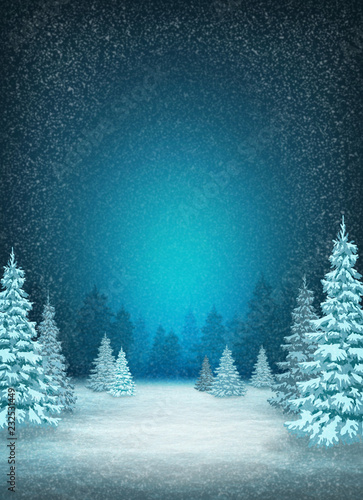 Winter snow background. Christmas trees in the snow. Frosty night. Pines in hoarfrost.