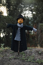 Spooky Scarecrow With Pumpkin