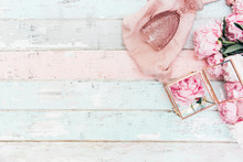 Flat Lay Pink Peony Bouquet On Shabby Chic Background .