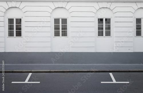 Empty parking lot street road side view - fototapety na wymiar