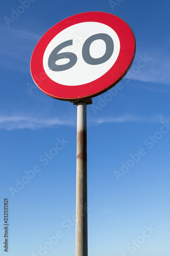 Fotografía  Dutch road sign: speed limit 60 km/h