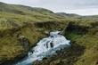 A long Icelandic waterfall