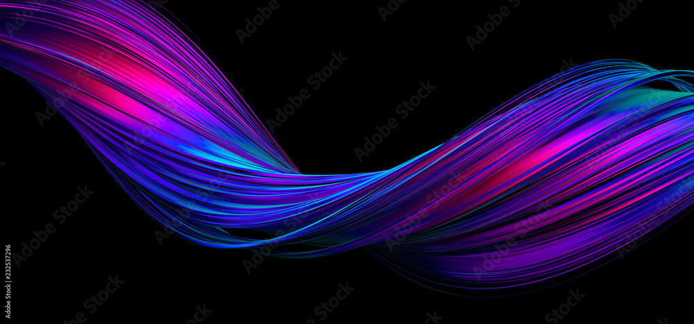 Fototapety, obrazy: Abstract 3d rendering of twisted lines. Modern background design, illustration of a futuristic shape