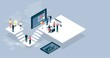 Isometric virtual office with people working together