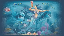 Mermaid And Dolphins Illustrat...