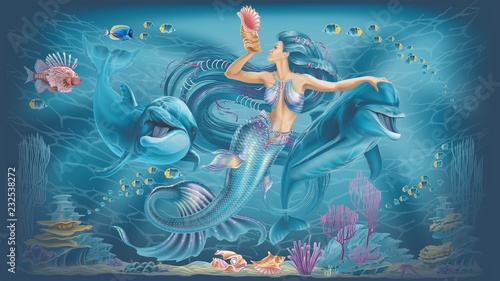 Photographie  mermaid and dolphins illustration