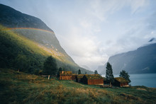 Traditional Norwegian Cabins On Lake