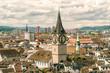 Cityscape with clocktower, Zurich, Switzerland