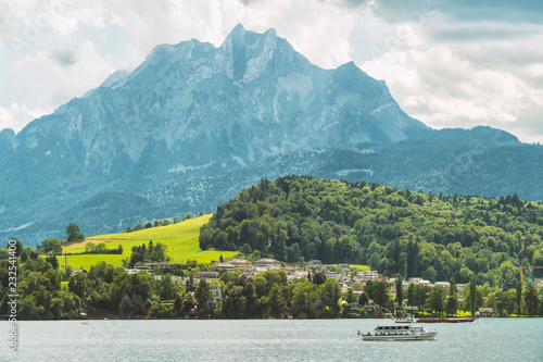 Landscape with Lucerne Lake, boat, mountain, and forest, Lucerne, Switzerland