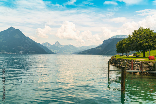 City on the water Lakescape with mountain, Lucerne, Nidwalden, Switzerland