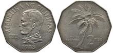 Philippines Philippine Coin 2 Two Piso 1983, Head Of Andres Bonifacio, Coconut Tree,