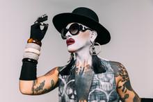 Bizarre Fashion Studio Portrait With Extreme Makeup