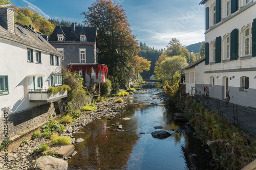 Picturesque houses along the Rur River in the historic center of Monschau, Aache Canvas Print