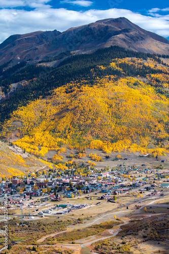 Fotografie, Obraz  Distant view of historic mining town im Autumn, Silverton, Colorado Route 550