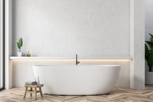 White Tub In White Bathroom Interior