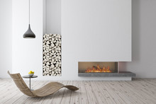 White Fireplace With Wooden Ar...