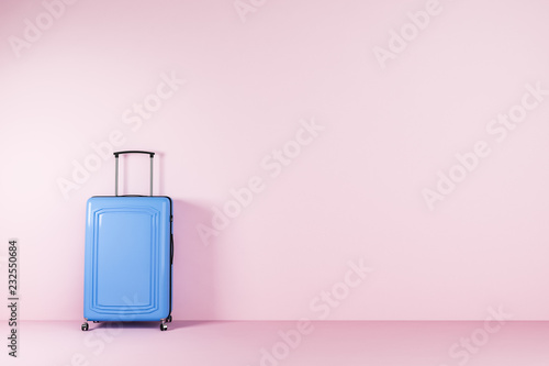 Poster Asia Country Blue suitcase standing in pink room
