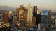 Aerial view of sunset over buildings in Financial District Los Angeles