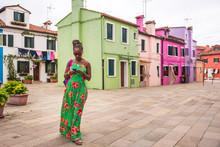 Woman Visiting Burano, Venice,...