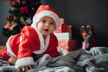 Adorable Little Boy In Santa S...
