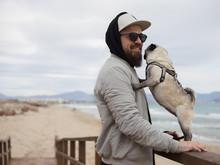 Cheerful Man With Pug?dog