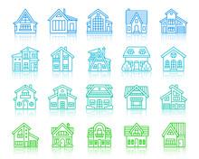House Cottage Simple Color Line Icons Vector Set