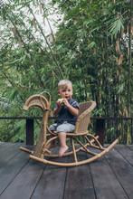 Toddler Boy  Riding On A Rocking Horse