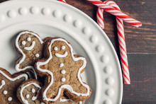 Gingerbread Man Cookies And Candy Canes