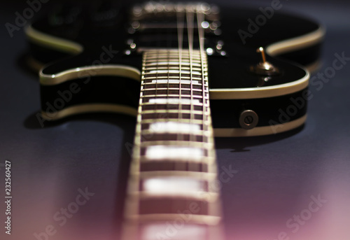 Photo  Electric guitar with bokeh background