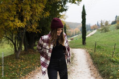 Young woman enjoying fall season