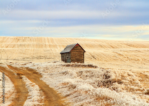 Small grain shed on the prairie Fototapet