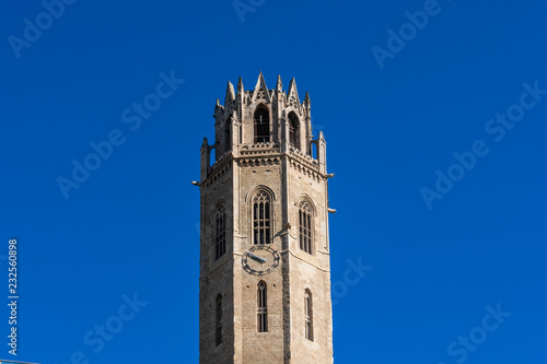 Detail of the bell tower of the Cathedral Seu Vella in the center of the city of Lleida Catalunia Spain.