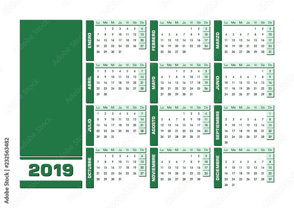 Anadir Calendario.Photo Art Print Calendario 2019 En Espanol Castellano Con