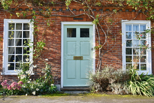 View of a Beautiful House and Front Door on a London Street Canvas Print
