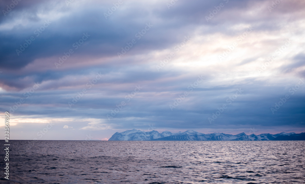 Northern sky and water of Svalbard