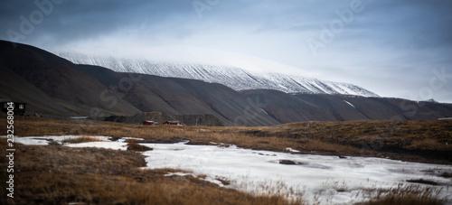 Keuken foto achterwand Grijze traf. Northern sky and water of Svalbard