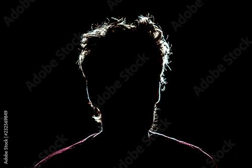 silhouette of man head on dark black background with lighten circuit contour f Tablou Canvas