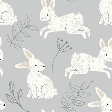 Seamless Bunny Rabbit Repeat Pattern Background With Cute Cream Rabbits And Gray Leaves On A Gray Background
