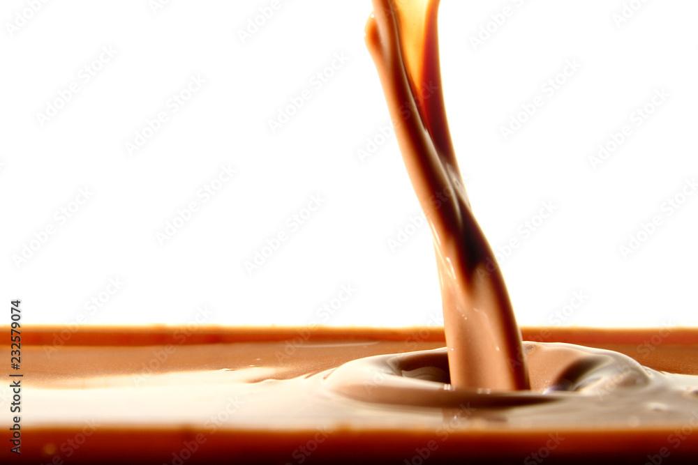 Fototapety, obrazy: Chocolate drink on white background