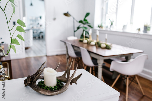 Holiday Antler Candle in Dining Room