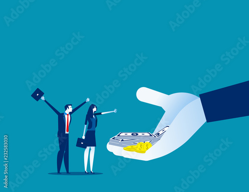 Fototapeta Company offer salaries to employees. Concept business vector illustration, Bonus, Salary up, Growth. obraz