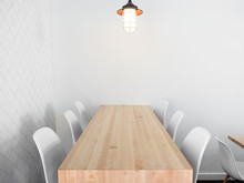 Real Wood Table With White Cha...