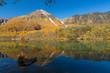 長野県 大正池に映る紅葉の北アルプス