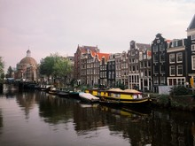 View Of The Famous Canals In Amsterdam.