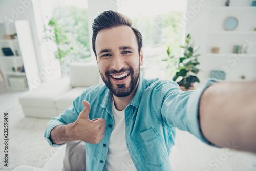 Fotografie, Obraz  Careless carefree cheerful positive brunet hair man stand in lig
