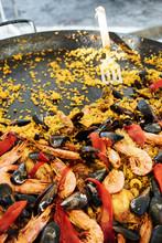 Large Pan Of Traditional Seafood Paella