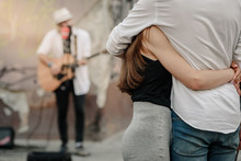 Couple In Love Listening Stree...