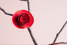 Red Paper Rose On A Twig
